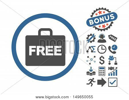 Free Accounting pictograph with bonus pictograph collection. Glyph illustration style is flat iconic bicolor symbols, cobalt and gray colors, white background.
