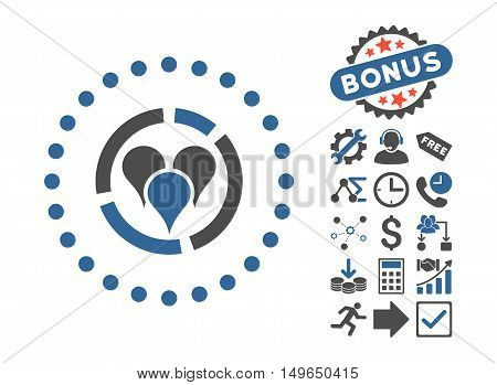 Geo Diagram icon with bonus design elements. Glyph illustration style is flat iconic bicolor symbols, cobalt and gray colors, white background.