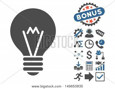 Hint Bulb icon with bonus pictures. Glyph illustration style is flat iconic bicolor symbols, cobalt and gray colors, white background.