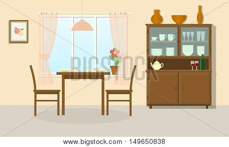 Dining room interior with table chairs and sideboard. Vector illustration.