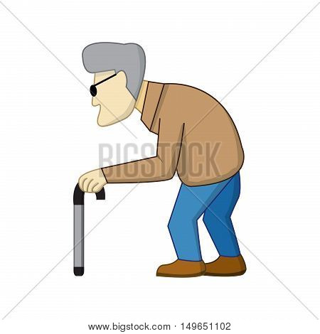 Old man in cartoon style with shadow vector