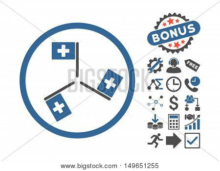 Hospital Flags pictograph with bonus pictograph collection. Glyph illustration style is flat iconic bicolor symbols, cobalt and gray colors, white background.