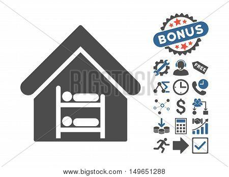 Hostel pictograph with bonus pictograph collection. Glyph illustration style is flat iconic bicolor symbols, cobalt and gray colors, white background.