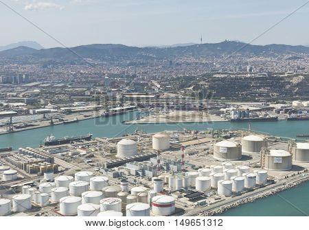 Vew Above Zona Franca - Port, The Industrial Port Of Barcelona