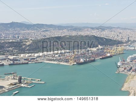 View Above Zona Franca - Port, The Industrial Port Of Barcelona