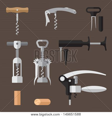 Vector set of different types of corkscrews (basic sommelier knife wing twin prong puller pump action lever). Flat style.