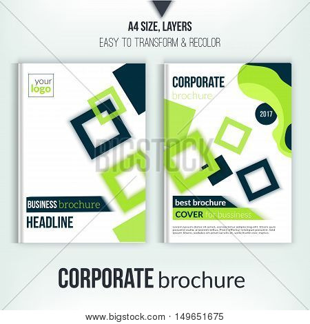 Brochure cover design template. Geometric square abstract flyer background. Green Corporate identity. Business professional poster in A4 size