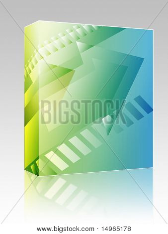 Software package box Forward moving arrows pointing right, design illustration