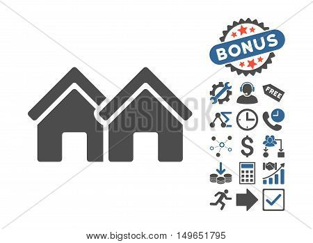 Houses pictograph with bonus pictograph collection. Glyph illustration style is flat iconic bicolor symbols, cobalt and gray colors, white background.
