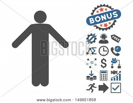 Ignorance Pose icon with bonus pictogram. Glyph illustration style is flat iconic bicolor symbols, cobalt and gray colors, white background.