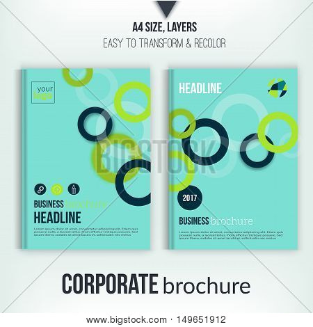 Brochure cover with overlapping circles illustration. Geometric abstract flyer background. Blue Corporate identity. Business professional poster in A4 size
