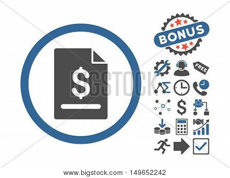 Invoice Page pictograph with bonus icon set. Glyph illustration style is flat iconic bicolor symbols, cobalt and gray colors, white background.