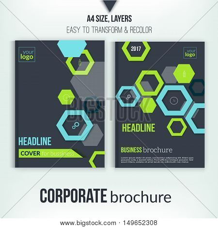 Brochure cover design template. Geometric abstract shape flyer on dark background. Green Corporate identity. Business professional poster in A4 size