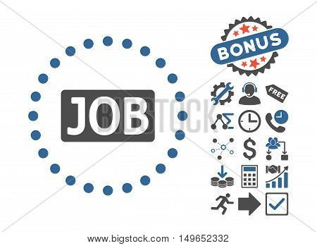 Job Text pictograph with bonus symbols. Glyph illustration style is flat iconic bicolor symbols, cobalt and gray colors, white background.
