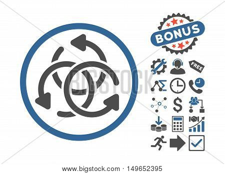 Knot Rotation pictograph with bonus pictograph collection. Glyph illustration style is flat iconic bicolor symbols, cobalt and gray colors, white background.