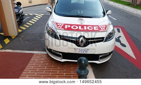Fontvieille Monaco - September 29 2016: Renault Scenic III TCe Police Car (Front View) Car of Monaco Police Patrol on the City Street of Fontvieille In Monaco French Riviera