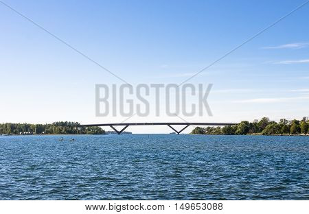 Bridge by the horizon on a clear and sunny day