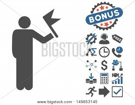Man With Flag pictograph with bonus pictures. Glyph illustration style is flat iconic bicolor symbols, cobalt and gray colors, white background.
