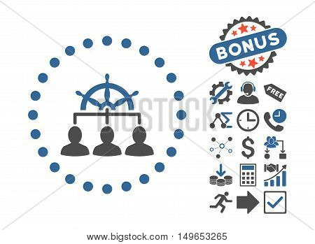 Management pictograph with bonus clip art. Glyph illustration style is flat iconic bicolor symbols, cobalt and gray colors, white background.