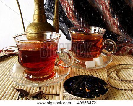 Traditional Tea Set, Walnut And Dried Dates.