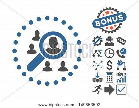 Marketing icon with bonus pictures. Glyph illustration style is flat iconic bicolor symbols, cobalt and gray colors, white background.