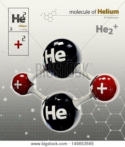 Illustration Of Helium Molecule Isolated Grey Background