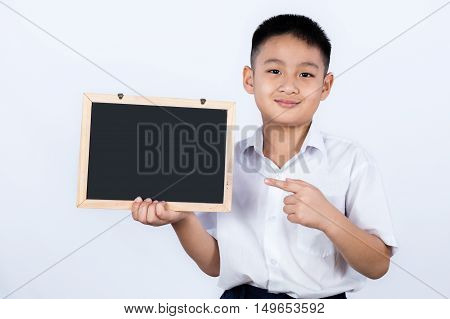 Asian Chinese Little Boy Wearing Student Uniform Pointing Chalkboard