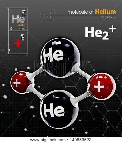 Illustration Of Helium Molecule Isolated Black Background