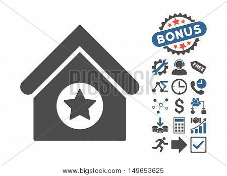 Military Building pictograph with bonus pictograph collection. Glyph illustration style is flat iconic bicolor symbols, cobalt and gray colors, white background.