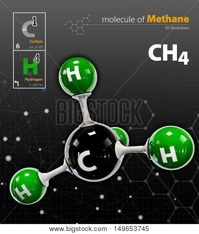 Illustration Of Methane Molecule Isolated Black Background