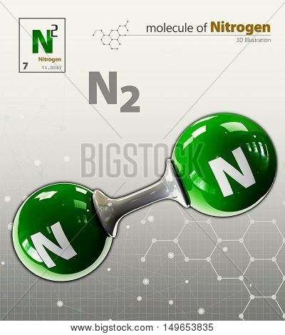 Illustration Of Nitrogen Molecule Isolated Grey Background