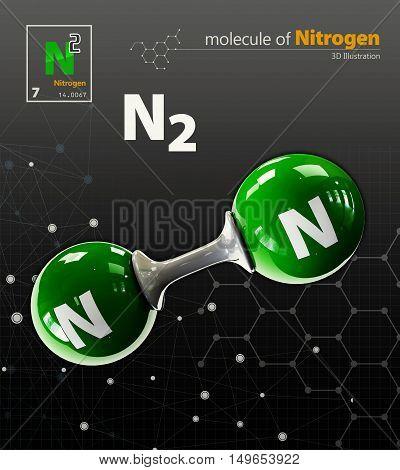 Illustration Of Oxygen Molecule Isolated Black Background