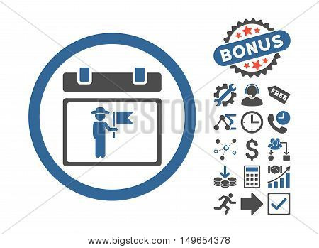 National Holiday Day pictograph with bonus pictogram. Glyph illustration style is flat iconic bicolor symbols, cobalt and gray colors, white background.