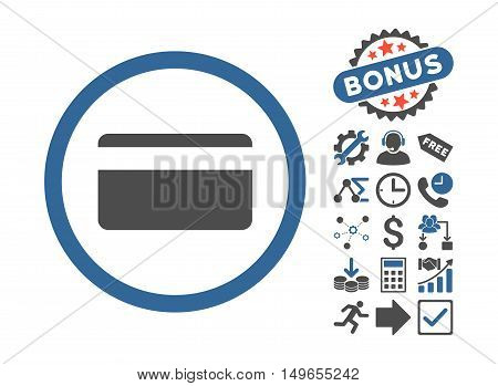 Plastic Card pictograph with bonus clip art. Glyph illustration style is flat iconic bicolor symbols, cobalt and gray colors, white background.