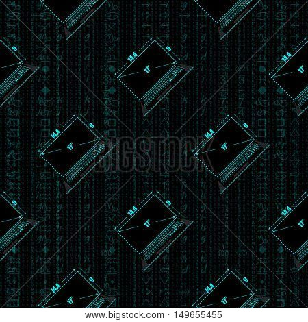 Seamless pattern a realistic laptop against the background of a flow of digits of blue color.
