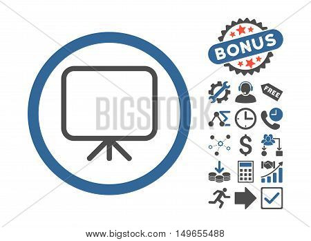 Presentation Screen icon with bonus icon set. Glyph illustration style is flat iconic bicolor symbols, cobalt and gray colors, white background.