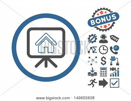 Project Slideshow icon with bonus clip art. Glyph illustration style is flat iconic bicolor symbols, cobalt and gray colors, white background.
