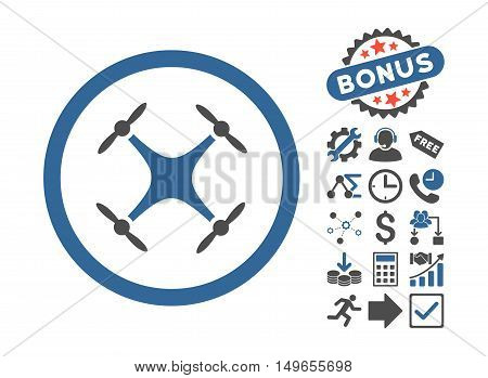 Quadcopter pictograph with bonus icon set. Glyph illustration style is flat iconic bicolor symbols, cobalt and gray colors, white background.