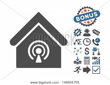 Radio Station pictograph with bonus icon set. Glyph illustration style is flat iconic bicolor symbols, cobalt and gray colors, white background.