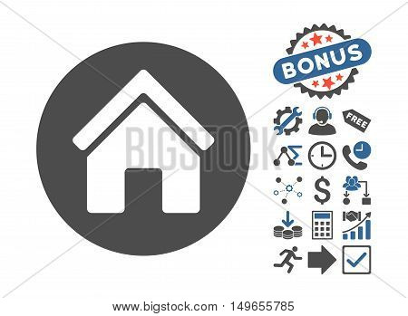 Real Estate pictograph with bonus pictograph collection. Glyph illustration style is flat iconic bicolor symbols, cobalt and gray colors, white background.