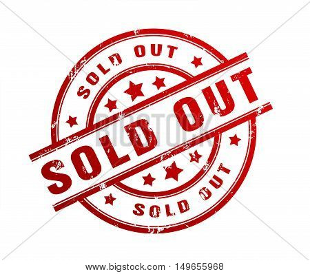 sold out rubber stamp illustration isolated on white background