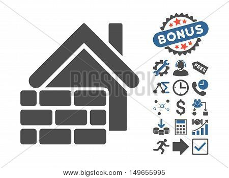 Realty Brick Wall icon with bonus pictograph collection. Glyph illustration style is flat iconic bicolor symbols, cobalt and gray colors, white background.