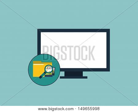 flat design computer and magnifying glass examining file folder icon vector illustration