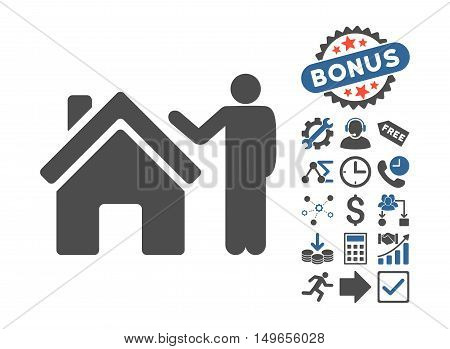 Realty Buyer pictograph with bonus pictogram. Glyph illustration style is flat iconic bicolor symbols, cobalt and gray colors, white background.
