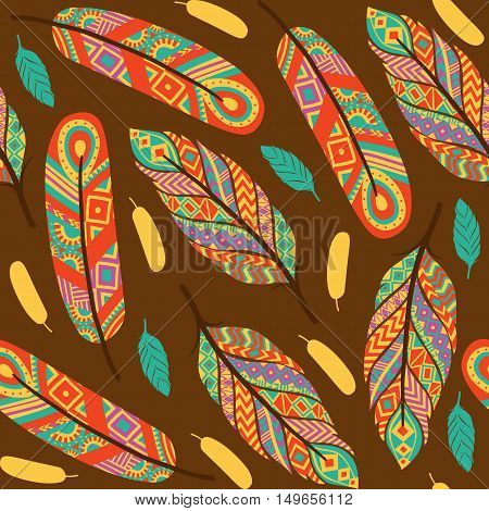 Ethnic feathers seamless pattern. Ethnic pattern. Vector illustration
