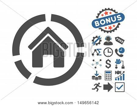 Realty Diagram pictograph with bonus clip art. Glyph illustration style is flat iconic bicolor symbols, cobalt and gray colors, white background.