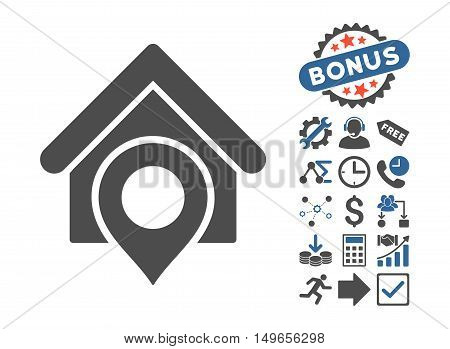 Realty Location pictograph with bonus icon set. Glyph illustration style is flat iconic bicolor symbols, cobalt and gray colors, white background.