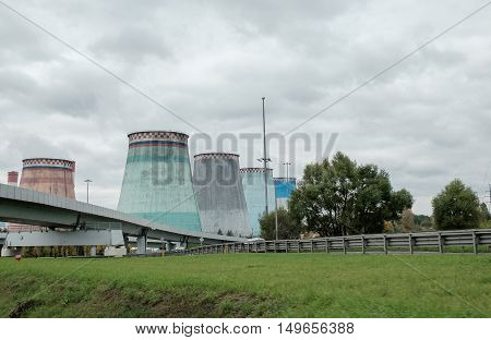 Thermal Power Stations And Power Lines On A Cloudy Day.