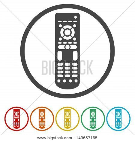 Remote control flat circle icon set on white background