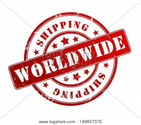 worldwide shipping rubber stamp illustration isolated on white background